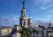 A view of the Capitol Building and the Opera House in central Havana, from a nearby rooftop.