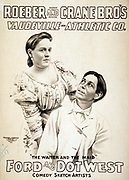 Roeber and Crane Bro's Vaudeville-Athletic Co. Theatre poster; Roeber and Crane Bro's Vaudeville-Athletic Co. c1898. Caption: 'The waiter and the maid', Ford and Dot West, comedy sketch artists.