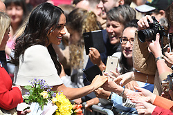 June 14, 2018 - Chester, Chester, United Kingdom - Hm The Queen and The Duchess of Sussex visit Chester. Queen Elizabeth II and The Duchess of Sussex during a walkabout in Chester as part of their visit to the North West of England. (Credit Image: © Andrew Parsons/i-Images via ZUMA Press)