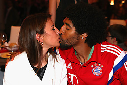 "17.05.2014, T Com, Berlin, GER, DFB Pokal, Bayern Muenchen Pokalfeier, im Bild Dante of Muenchen kisses his wife Jocelina on her birthday Jocelina, Dante, // during the FC Bayern Munich ""DFB Pokal"" Championsparty at the T Com in Berlin, Germany on 2014/05/17. EXPA Pictures © 2014, PhotoCredit: EXPA/ Eibner-Pressefoto/ EIBNER<br /> <br /> *****ATTENTION - OUT of GER*****"