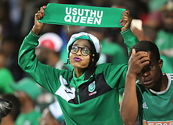 02102018 (Durban) Amazulu fans cheers their team during the game when AmaZulu FC takes head on their KwaZulu-Natal rivals Maritzburg United in an Absa Premiership match at the King Zwelithini Stadium in Durban on Tuesday night. Usuthu extended their winless run to three league games when they lost 2-0 to Kaizer Chiefs away in their previous match over a week ago and after losing 6 points.<br /> Picture: Motshwari Mofokeng/African News Agency (ANA)