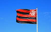 rio de janeiro's Flamengo soccer team Flag floating on blue sky