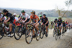 Last year's winner, Lizzie Deignan well positioned on the penultimate gravel sector at Strade Bianche - Elite Women. A 127 km road race on March 4th 2017, starting and finishing in Siena, Italy. (Photo by Sean Robinson/Velofocus)
