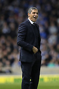 Brighton Manager, Chris Hughton shouting during the EFL Sky Bet Championship match between Brighton and Hove Albion and Birmingham City at the American Express Community Stadium, Brighton and Hove, England on 4 April 2017.