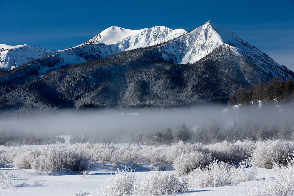 Hoar Frost on a Winter Morning near Petit Lake in the Sawtooth Mountains in Central Idaho.  Licensing and Open Edition Prints.
