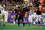 4/12/2007 - Lokeni Lokeni, Jr. celebrates a sack in the Alaska Wild's 33-46 loss to the Frisco Thunder.