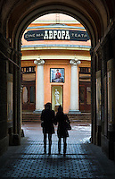 ST. PETERSBURG - CIRCA MARCH 2013: People walking into a theater in Saint Petersburg, circa March 2013. This is a popular tourist destination with 221 museums, 2000 libraries, and 80  plus theaters within the city.