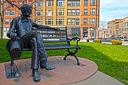 08 May 2006:   Abe Lincoln is cast onto a park bench that sits as a monument on the old courthouse square in Bloomington Il<br /> <br /> This image was produced in part utilizing High Dynamic Range (HDR) processes.  It should not be used editorially without being listed as an illustration or with a disclaimer.  It may or may not be an accurate representation of the scene as originally photographed and the finished image is the creation of the photographer.