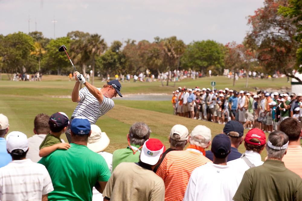 DORAL, FL - MARCH 15:  Ernie Els hits his tee shot in front of the gallery during the fourth round of the 2009 WGC-CA Championship at Doral Golf Resort and Spa in Doral, Florida on Sunday, March 15, 2009. (Photograph by Darren Carroll) *** Local Caption *** Ernie Els