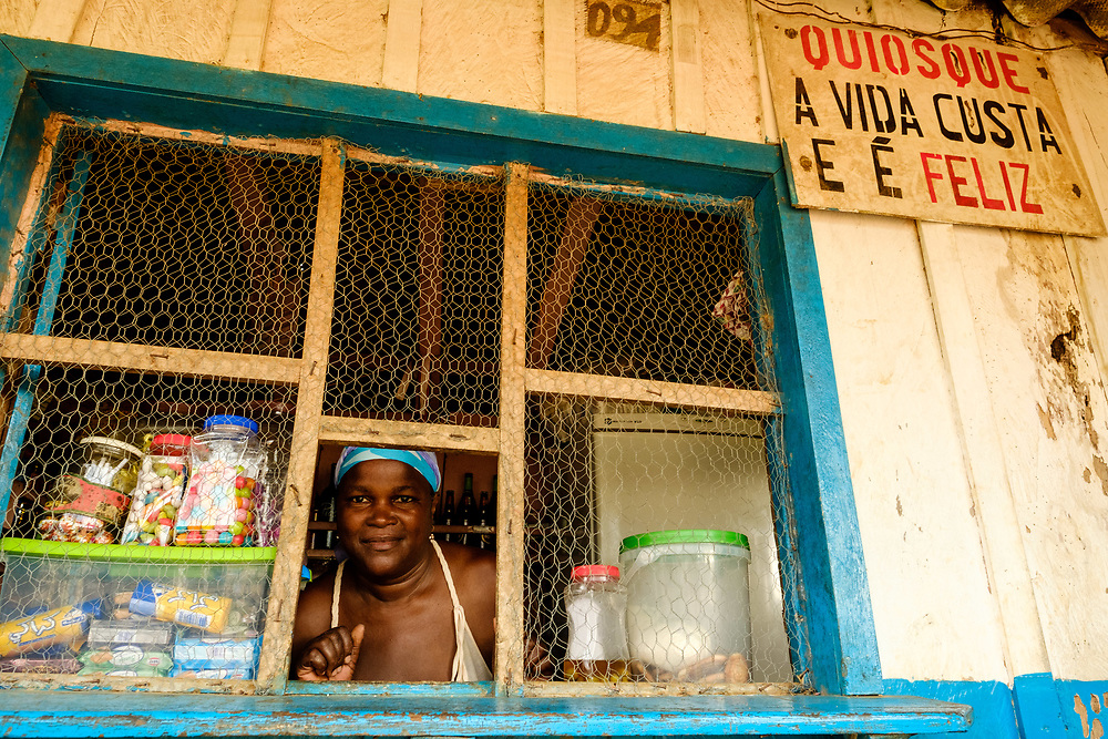 Zinha, the owner of the stall that serves delicious Saotomese food.