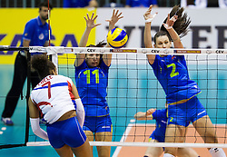 Elisabeth Fedele of France vs Ziva Recek of Slovenia and Sara Hutinski of Slovenia during volleyball match between National Teams of Slovenia and France in 3rd Round of 2015 CEV Volleyball European Championship Women Qualifications, on May 29, 2015 in Arena Tabor, Maribor, Slovenia.