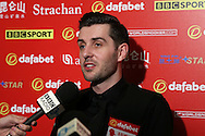 Mark Selby (Eng) is interviewed after losing to Barry Hawkins (Eng).  Barry Hawkins (Eng) v Mark Selby (Eng) , Quarter-Final match at the Dafabet Masters Snooker 2017, at Alexandra Palace in London on Friday 20th January 2017.<br /> pic by John Patrick Fletcher, Andrew Orchard sports photography.