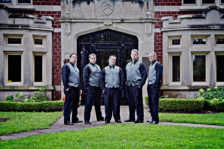 The groom poses with his groomsmen for a formal portrait. <br /> <br /> To view Katie and Brad's complete Wedding Gallery Collection, visit the Client Area and log-in. You'll be able to view all images as a slideshow, order prints and more.<br /> <br /> © Images of a Promise by Dean Oros Photo + Design