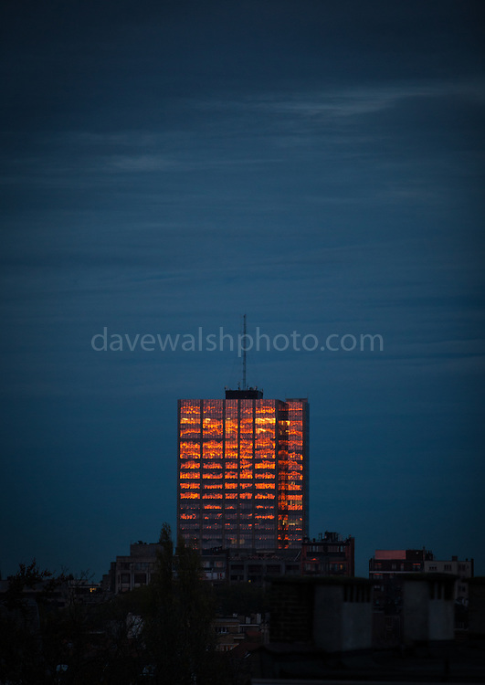 """Winter sunset hits a building in Brussels, November 2013. (c) Dave Walsh This mage can be licensed via Millennium Images. Contact me for more details, or email mail@milim.com For prints, contact me, or click """"add to cart"""" to some standard print options."""