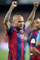 30.05.2015, Camp Nou, Barcelona, ESP, Copa del Rey, Athletic Club Bilbao vs FC Barcelona, Finale, im Bild FC Barcelona's Daniel Alves celebrates the victory // during the final match of spanish king's cup between Athletic Club Bilbao and Barcelona FC at Camp Nou in Barcelona, Spain on 2015/05/30. EXPA Pictures © 2015, PhotoCredit: EXPA/ Alterphotos/ Acero<br /> <br /> *****ATTENTION - OUT of ESP, SUI*****