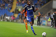 Cardiff City's Sammy Ameobi reacts after he is caught offside. Skybet football league championship match, Cardiff city v Wolverhampton Wanderers at the Cardiff city stadium in Cardiff, South Wales on Saturday 22nd August 2015.<br /> pic by Carl Robertson, Andrew Orchard sports photography.