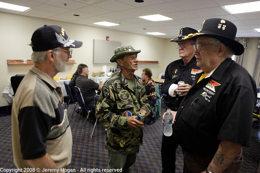 Left to right, Bob Holt, B Troop; Jerry Hogan, B Troop; Stan Nash and Ed Arthur, B and D Troops, visit during the Gathering of Warriors reunion attended by Vietnam War Veterans of the 1st Squadron, 9th Cavalry, 1st Cavalry Divison.