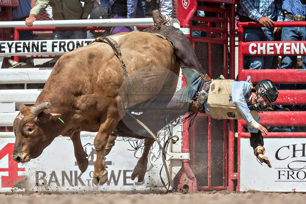 Bull rider Cain Smith of Pendleton, Oregon is thrown from Let R Rip at the Cheyenne Frontier Days rodeo at Frontier Park Arena July 24, 2015 in Cheyenne, Wyoming. Frontier Days celebrates the cowboy traditions of the west with a rodeo, parade and fair.