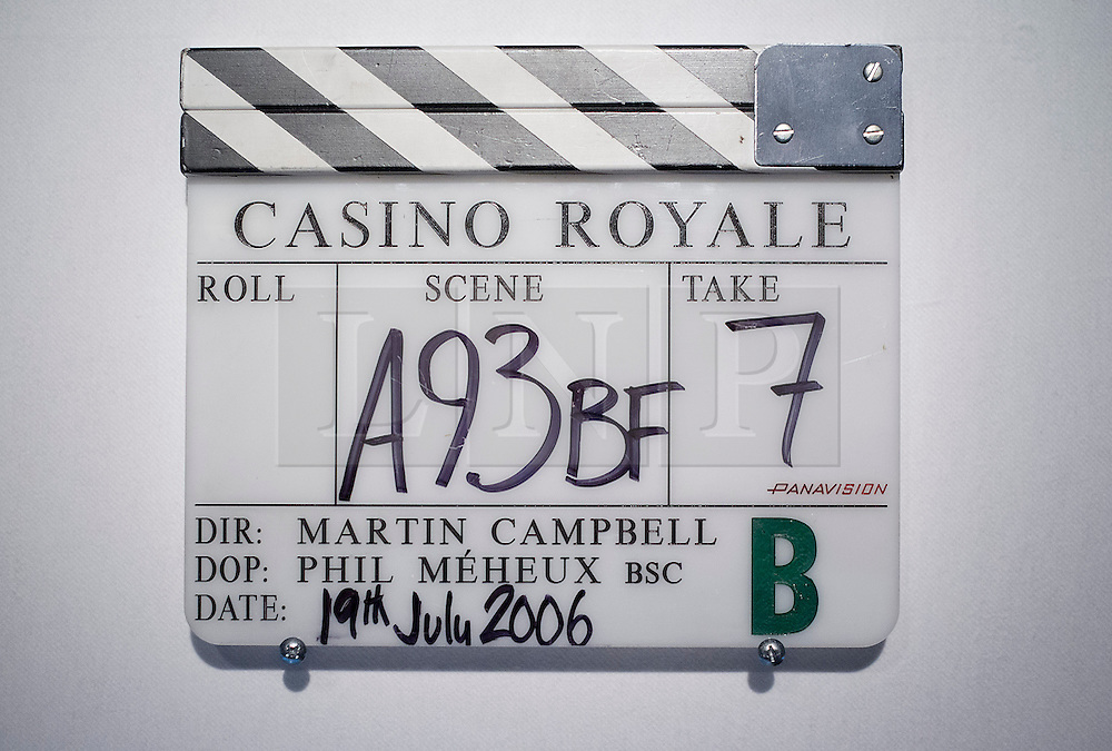 © Licensed to London News Pictures. 28/09/2012. LONDON, UK. A clapper board used in the production of  'Casino Royale' (2006) (est. £800-1,200) is seen at the press view for the 50 Years of James Bond Auction in London today (28/09/12).  The auction, taking place on in two parts, an online sale on the 28th of September and an evening event on the 5th of October - Global James Bond Day -  is being held in aid of various charities and features props and costumes from 50 years of James Bond movies. Photo credit: Matt Cetti-Roberts/LNP
