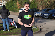 AFC Wimbledon goalkeeper Joe McDonnell (24) arriving for the game during the EFL Sky Bet League 1 match between AFC Wimbledon and Peterborough United at the Cherry Red Records Stadium, Kingston, England on 18 January 2020.
