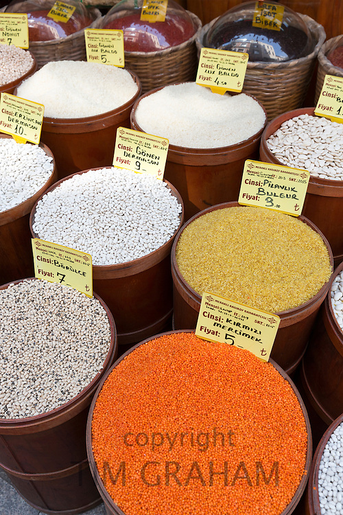 Spice, pulses dried goods for sale at food and spice market in Kadikoy district on Asian side of Istanbul, East Turkey