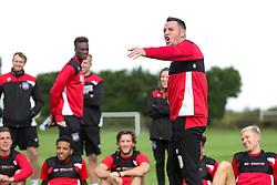 Lee Tomlin looks on as Bristol City play Football Darts from Bristol Bubble Ball Ltd after training - Rogan Thomson/JMP - 30/09/2016 - FOOTBALL - Failand Training Ground - Bristol, England.