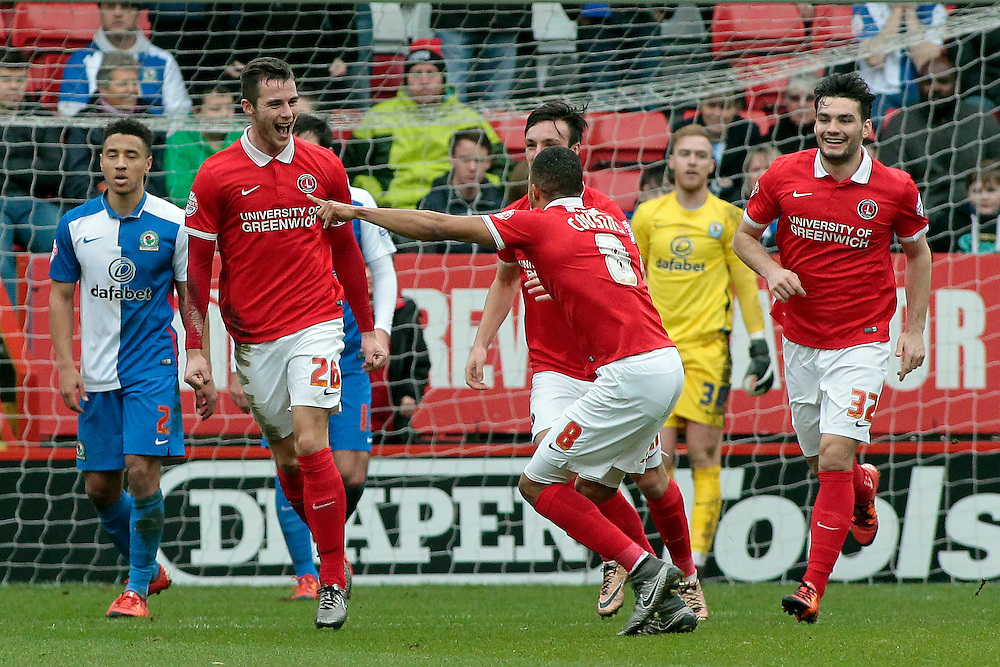 Charlton Athletic's Harry Lennon (left) celebrates scoring his sides first goal <br /> <br /> Photographer David Shipman/CameraSport<br /> <br /> Football - The Football League Sky Bet Championship - Charlton Athletic v Blackburn Rovers - Saturday 23rd January 2016 - The Valley - London <br /> <br /> © CameraSport - 43 Linden Ave. Countesthorpe. Leicester. England. LE8 5PG - Tel: +44 (0) 116 277 4147 - admin@camerasport.com - www.camerasport.com