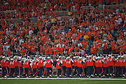 September 05 2009    The University of Illinois marching band exits the field after playing the national anthem prior to the start of the game.  The University of Missouri hosted the University of Illinois in the annual Arch Rivalry Football Game at the Edward Jones Dome in downtown St. Louis on September 5, 2009.  The Mizzou .Tigers won, 37-9...            *******EDITORIAL USE ONLY*******