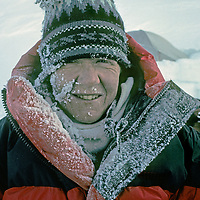 ANTARCTICA. Rime from breathing coats face & jacket of Dr. Lis Densmore after becoming 1st woman to climb 16,067' Mount Vinson, Antarctica's highest mountain. (Ellsworth Mountains).
