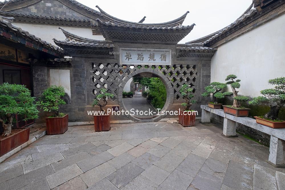 Moon Gate Interior courtyard, Zhu Family house, Jianshui Ancient Town, Yunnan Province, China