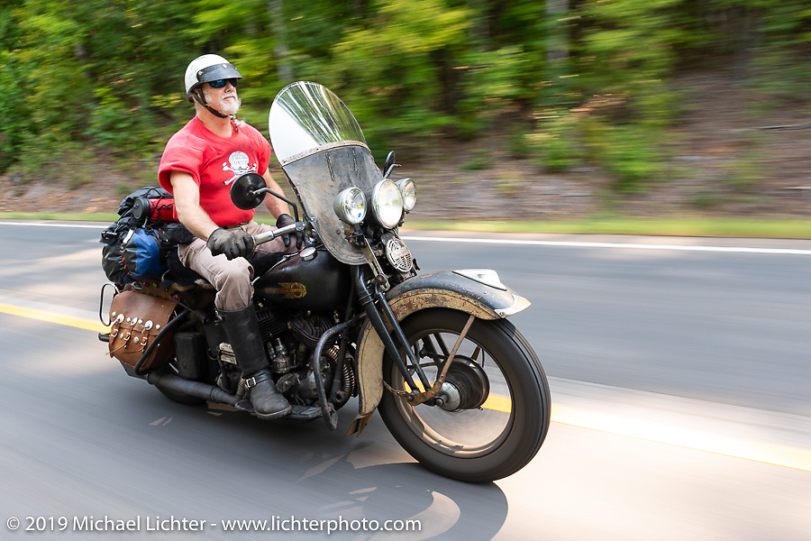 Mike McCloud rode his 1938 Harley-Davidson ULH for several days along with the Cross Country Chase motorcycle endurance run from Sault Sainte Marie, MI to Key West, FL. (for vintage bikes from 1930-1948). Stage-6 from Chattanooga, TN to Macon, GA USA covered 258 miles. Wednesday, September 11, 2019. Photography ©2019 Michael Lichter.