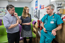 © Licensed to London News Pictures. 26/01/2018. Lancaster, UK. Shadow Health Secretary JONATHAN ASHWORTH MP (left, pictured in the A&E department) and Lancaster and Fleetwood MP CAT SMITH (centre) talk to DR COLIN READ , in charge of A&E , during a visit Lancaster Royal Infirmary and tour Accident and Emergency and the wards on a day when the A&E department at the hospital was at 100% of capacity with no spare cubicles . Labour say the NHS is in crisis in the North West with patients waiting in ambulances outside hospitals for over an hour and hospitals running out of beds. Photo credit: Joel Goodman/LNP