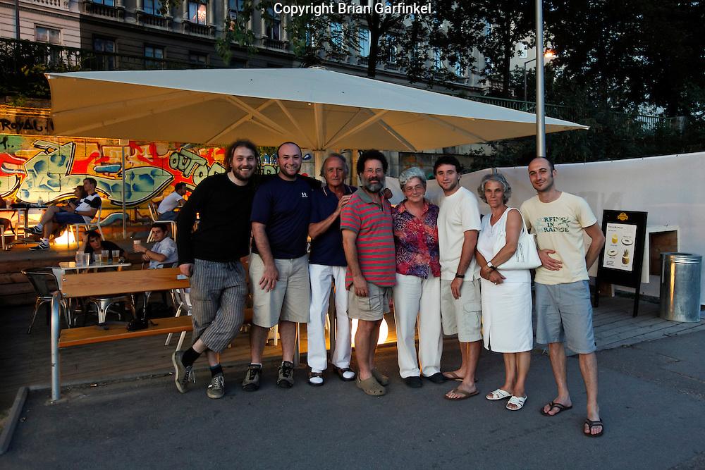 "Filip Lazar, Brian, Peter Lazar, Dad, Mom, joel, Sylvia, and Daniel Lazar at ""Tel Aviv Beach"" next to the Danube River in Vienna, Austria on Sunday, July 10th 2011.  (Photo by Joel Garfinkel)"