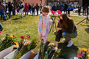 20 MARCH 2021 - DES MOINES, IOWA: Nearly 100 people attended a memorial service in Poppajohn Sculpture Park in downtown Des Moines Saturday for the victims of a gunman who murdered 8 people in Atlanta, GA, on Tuesday, 16 March 2021. The murder victims included six women of Asian descent and ignited awareness of anti-Asian racism across the US.      PHOTO BY JACK KURTZ