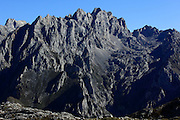 The Urrieles Peaks of the Picos de Europa close up.