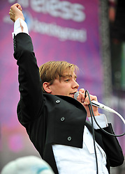 © licensed to London News Pictures. LONDON UK  03/07/11.The Hives perform at Day 3 of the Wireless Festival in Hyde Park London saw thousands of music fans enjoying the sunshine and the music . Please see special instructions for usage rates. Photo credit should read ALAN ROXBOROUGH/LNP