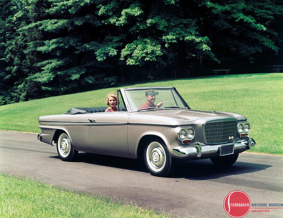 A 1963 Studebaker Lark Daytona Convertible is shown in this Studebaker publicity image.