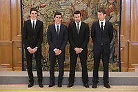 Marc Marquez (2L), Alex Marquez (L), Steve Rabat (R) and Toni Bou during Royal Audience with King Felipe VI of Spain at Zarzuela Palace in Madrid, Spain. November 20, 2014. (ALTERPHOTOS/Victor Blanco)