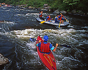Kayak and raft, Lehigh River rapids, south of  Francis E. Walter Reservoir and White Haven, Pennsylvania