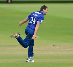 James Fuller of Gloucestershire celebrates as he bowls out Peter Trego of Somerset for 14 - Mandatory byline: Dougie Allward/JMP - 07966386802 - 02/08/2015 - Cricket - County Ground -Bristol,England - Gloucestershire CCC v Somerset CCC - Royal London One-Day Cup