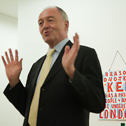 Art auction held at Gimpel Fils in support of Ken Livingstone's bid for London Mayor in May 2012. Ken Livingstone opening the auction. A very clear message from artist Bob and Roberta Smith.