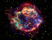 False-colour image of supernova remnant Cassiopeia A in constellation Cassiopeia, 10,000 light-years away. It is the remnant of a once massive star that died in a supernova explosion. Credit NASA. Science Astronomy
