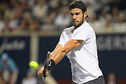 August 12, 2018 - Toronto, ON, U.S. - TORONTO, ON - AUGUST 11: Karen Khachanov (RUS) returns the ball during his Semi finals match of the Rogers Cup tennis tournament on August 11, 2018, at Aviva Centre in Toronto, ON, Canada. (Photograph by Julian Avram/Icon Sportswire) (Credit Image: © Julian Avram/Icon SMI via ZUMA Press)