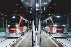 THEMENBILD - eine Zuggarnitur der Österreichischen Bundesbahnen bei der Einfahrt am Bahnsteig, aufgenommen am 14. Januar 2021 in Bruck a.d.Glstr., Österreich // a train of the Austrian Federal Railways entering the station at the platform, Bruck a.d.Glstr, Austria on 2021/01/14. EXPA Pictures © 2021, PhotoCredit: EXPA/ JFK