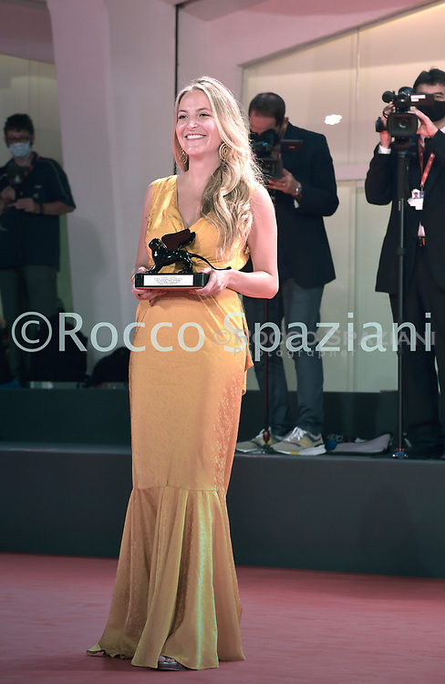 VENICE, ITALY - SEPTEMBER 12: Director Mariana Saffon poses with the Orizzonti Award for Best Short Film during the winners photocall at the 77th Venice Film Festival on September 12, 2020 in Venice, Italy.<br /> (Photo by Rocco Spaziani)