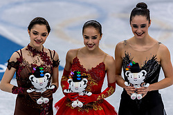 GANGNEUNG, SOUTH KOREA - FEBRUARY 23: Silver medalist Evgenia Medvedeva of Olympic Athlete from Russia, gold medalist Alina Zagitova of Olympic Athlete from Russia, bronze medalist Kaetlyn Osmond of Canada during the venue victory ceremony following the Figure Skating Ladies Free program on day fourteen of the PyeongChang 2018 Winter Olympic Games at Gangneung Ice Arena on February 23, 2018 in Gangneung, South Korea. Photo by Ronald Hoogendoorn / Sportida