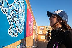 Susan Brittle checks out the RSD Moto Beach Classic. Huntington Beach, CA, USA. Saturday October 27, 2018. Photography ©2018 Michael Lichter.
