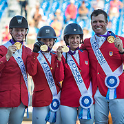 McLain Ward, Adrienne Sternlicht, Laura Kraut and Devin Ryan win Team Jumping Gold Medals for USA at the 2018 FEI World Equestrian Games™ Tryon 2018 where Land Rover is the official vehicle sponsor, on September 21, 2018 in Mill Spring, North Carolina.