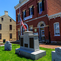 Sharpsburg, MD, USA - May 24, 2018: Memorials at the Town Hall in Sharpsburg, a quaint and historic town, known for its proximity to Antietam, the site of a major battle in the American Civil War.