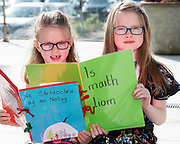 07/04/2019 repro free: Juliette Ní Fhògartaigh Aoife Ní Cholmrin Naíonàin Mhòra Gael Scoil De hIde Oranmore  with their books at Scriobh Leabhair organised by The Galway Education centre and help at the Salthill Hotel  . Photo: Andrew Downes, Xposure